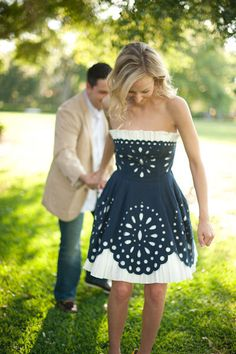 Navy Eyelet Cotton Pique Strapless Dress by Betsy Johnson