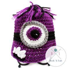Handmade Custom Evil Purple Minion Crochet Hat sizes newborn, infant, toddler, kids adult
