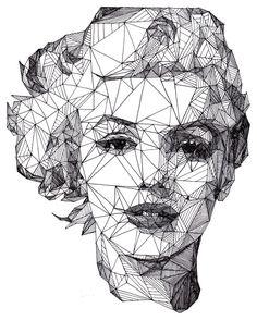 Geometric portrait of Marilyn Monroe Art And Illustration, Illustrations, Portrait Illustration, Arte Pop, Pop Art, Kreative Portraits, Ouvrages D'art, Art Graphique, Art Plastique