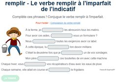Exercice De Conjugaison Le Verbe Remplir A L Imparfait Exercice De Francais Cm1 Exercices Conjugaison Exercice Francais