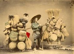 A vendor selling baskets by Felice Beato, 1865 © : Galerie Verdeau, Paris/The London Photograph Fair