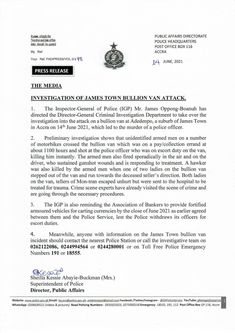The Inspector-General of Police (IGP), has directed the Director-General, Criminal Investigation Department to take over investigations into circumstances leading to the killing of a police officer and a bystander during an attack on a bullion van at Adedenkpo, a suburb of James Town, Monday. The driver of the van also... The post Bullion van attack at James Town: IGP directs CID to take over investigation appeared first on Clickongh. James Town, Law Enforcement Agencies, Police Officer, Investigations, Van, Entertainment, News, Study, Vans