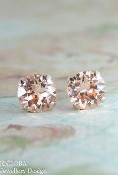 rose gold earringspeach crystal earringspeach by EndoraJewellery