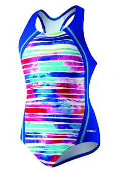 Speedo Girl's Swimsuit One Piece Stripe Remix Sport Splice
