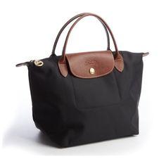 Longchamp Nero Nylon Leather Tote found on Polyvore