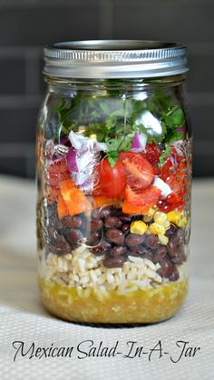 Mexican Salad-in-a-Jar - a complete protein, tons of vitamins, fibre, and iron to boot. Perfect #vegan #lunch #YMC