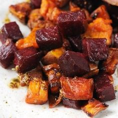Sweet and earthy, this sumptuous roast vegetable recipe with beetroot and sweet potato provides a side dish which will complement a range of gamey meats - by James Sommerin Roasted Vegetable Recipes, Vegetable Dishes, Vegetarian Recipes, Cooking Recipes, Healthy Recipes, Roast Recipes, Vegetarian Roast Dinner, Sweet Potato Recipes, Sweet Potato And Butternut Squash Recipe
