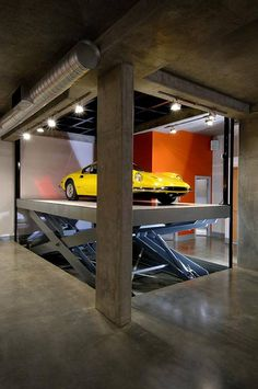 Can you picture James Bond in this garage, getting his Porsche?