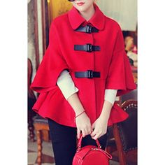 Solid Color Cape Flare Sleeve Turn-Down Collar Women's Coat