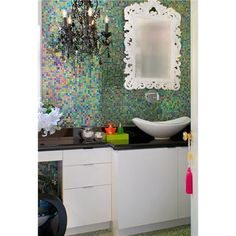 Contemporary (Modern, Retro) Bathroom by Tracy Murdock.... I <3 the tile and the mirror....and the chandalier!
