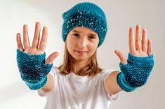 Blue hand knitted cap and fingerless mittens for kids - Knit Caps Kids Fingerless Mittens, Knit Mittens, Knitting For Kids, Hand Knitting, S Girls, Boy Or Girl, Handmade Items, Handmade Gifts, Arm Warmers