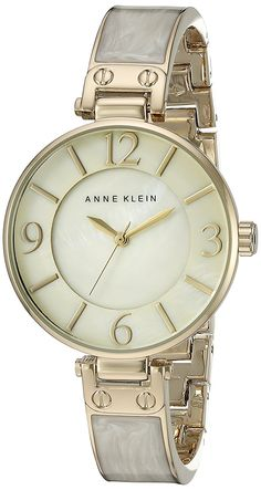 Anne Klein Women's AK/2210IMGB Gold-Tone and Ivory Marbleized Bangle Watch ** You can get additional details at the image link.