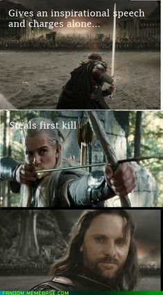 Lord of the Rings Return if the King. Aragorn and Legolas. Hee hee.
