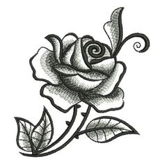 Blackwork Rose embroidery design