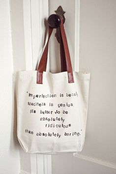 Tote of the Week: Hand-Stamped Quote Bag via A Beautiful Mess - Mathilde ♥ Manech | UK Lifestyle Blog