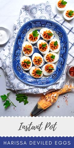 This flavorful recipe for harissa deviled eggs is sure to become a   favorite! Follow our tips and tricks for making Instant Pot hard boiled   eggs that peel easily!    #deviledeggs #eggs #hardboiledeggs #instantpot #pressurecooker #appetizer #snack #partyfood #makeahead #mealprep #partyprep #instantpotrecipes #summerrecipes