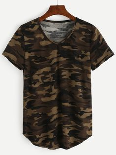 Shop V-Neck Camo T-shirt - Olive Green online. SheIn offers V-Neck Camo T-shirt - Olive Green & more to fit your fashionable needs.