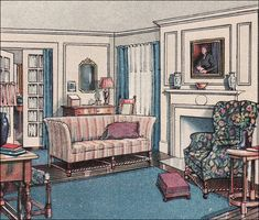 """1916 Living Room, from The Attractive Home by Ekin Wallick. This living room has the colonial style white woodwork and simple blue, red, and white color scheme but quite a few """"modern"""" touches as well. The designer, Eakin Wallick, had a monthly design column in the Ladies Home Journal, which by virtue of its reach probably influenced a fair number of ordinary middle class homemakers."""