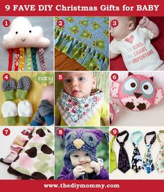 A Handmade Christmas: 9 Favourite Christmas Gifts for Baby by The DIY Mommy. Handmade stuffies, baby clothes, blankets and more!