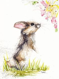Original Watercolour Painting by Be Coventry,Animals,Realism,Rabbit &Honeysuckle