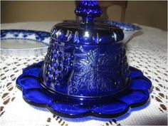 Mosser Grape and Cable Cobalt  Blue Covered Butter Dish