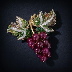 Ruby,diamond & enamel bunch of grapes brooch.