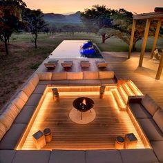 Dream Home Design, Modern House Design, Rooftop Design, Outdoor Fireplace Designs, Design Jardin, Luxury Homes Dream Houses, Dream Homes, Backyard Patio Designs, Dream House Exterior