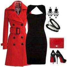Black dress with red coat. Great holiday outfit