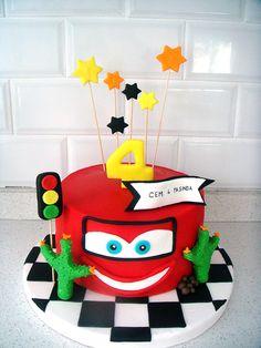 Şimşek Mcqueen Temalı Butik Doğumgünü Pastası Cars Mcqueen Birthday Fondant Cake For Boys