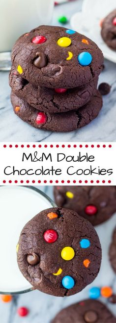 Pair with Flora Springs Cabernet Sauvignon or Trilogy! Fudgy, chewy, super soft M&M Double Chocolate Cookies! The perfect M&M chocolate chip cookies for true chocolate lovers! Best Cookie Recipes, Baking Recipes, Dessert Recipes, Lunch Recipes, Sweet Recipes, Chocolate Chip Cookies, Galletas Cookies, Shortbread Cookies, Yummy Cookies