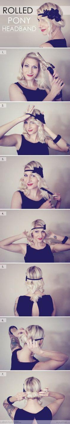 DIY Rolled Ponytail Headband Hairstyle DIY Projects Повязка на голову.