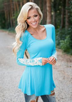 Laced with Class Tunic Turquoise CLEARANCE - Modern Vintage Boutique