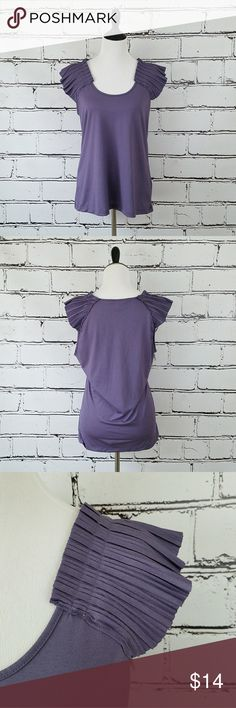 Banana Republic Purple Ruffle Tank Top! Light purple tank top with ruffled short sleeves. Length is about 27 inches and armpit to armpit is about 20.5 inches. Great condition! Banana Republic Tops Tank Tops