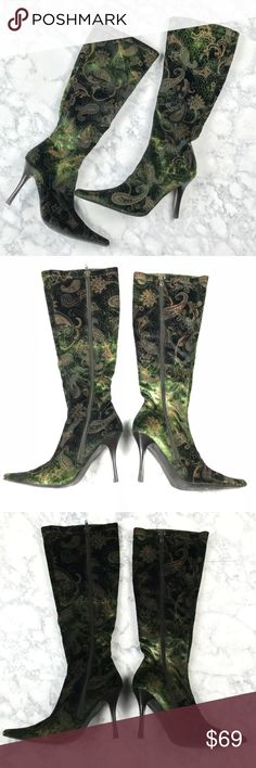 """Luichiny Crushed Velvet Paisley Tall Stretch Boots Luichiny Crushed Velvet Paisley Tall Stretch Boots Size 7B  Crushed velvet gives a burnout look for a Green/Dark Green appearance. Pointed toe with side zip closure. Only lightly worn!   Heel approx 3.75"""" Luichiny Shoes Heeled Boots"""