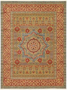Light Blue Mamluk Area Rug. They call this Light Blue, but the effect seems to be a sage green since it's mixed with that golden tan color in the pattern.