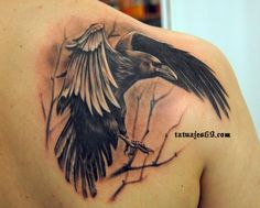 Crow tattoo, love the realism here