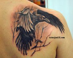 Crow tattoo, love the realism here
