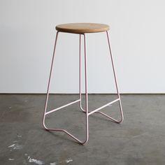 HOPA PNK bar stool  American Oak seat on powder pink steel frame  Made in Melbourne