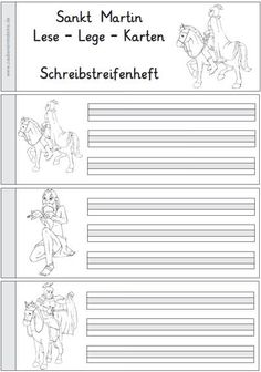 "The existing material around Sankt Martin now comes with these new reading cards. The material also includes a writing strip booklet: The material is among the ""novelties"" Autumn Crafts, Card Reading, Saints, Writing, Material, Cards, Teacher Stuff, Charlotte, Autumn"