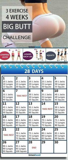 3 excercise 4 weeks big butt challenge