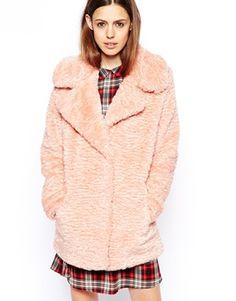 ASOS Faux Fur Coat In Teddy Texture