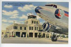 Jacksonville FL Airport Vintage Linen PC Eastern Airlines ca. 1930s