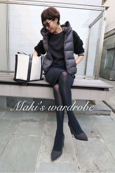 black and grey with vest Office Fashion, Work Fashion, Daily Fashion, Fall Winter Outfits, Autumn Winter Fashion, Casual Chic, Look Office, Winter Stil, Weekend Style