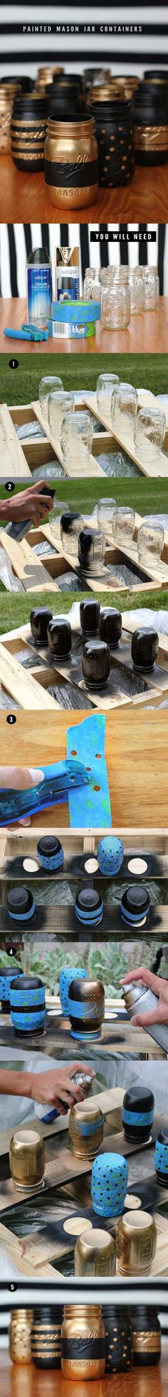 DIY Makeup Storage and Organizing - Painted Mason Jar Makeup Storage - Awesome Ideas and Dollar Stores Hacks for Some Seriously Great Organizers For Small Spaces - Box and Vanity Ideas as well as Easy Ideas for Jars and Drawers, Cheap Wall Shoebox Containers and Quick Holders with Cardboard - thegoddess.com/DIY-Makeup-Storage