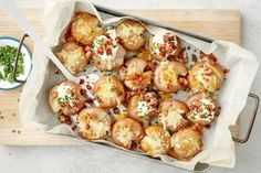 For the ultimate comfort food you can't go past these crispy roast potatoes topped with a cheesy, bacon crumb and served with sour cream and chives. Potato Dishes, Potato Recipes, Vegetable Recipes, Savoury Recipes, Vegetable Sides, Quiche Recipes, Healthy Recipes, Veggie Food, Chicken Recipes