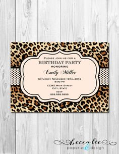 Animal Print Birthday Invitation Leopard Print by BeccaLeePaperie Cheetah Print Party, Animal Print Party, Leopard Party, 6th Birthday Parties, 1st Birthday Girls, Adult Party Themes, Monster High Birthday, Birthday Invitations, Invites