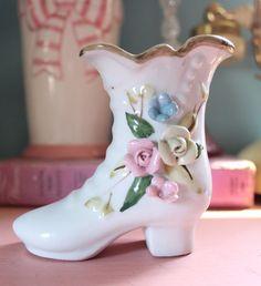 Vintage Porcelain Floral Boot Figurine
