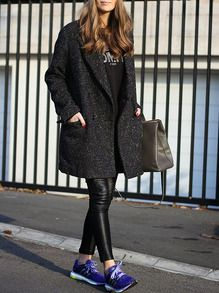 Grey Long Sleeve Lapel Pockets Coat -SheIn(Sheinside)