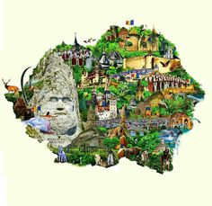 Another illustrated map of Romania (from before Romania Map, Visit Romania, Romania Travel, Visual Map, Eastern Europe, Travel Inspiration, Diy And Crafts, City Photo, History