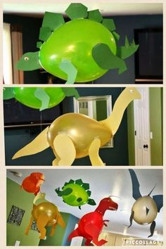 Love these balloons decorated like dinosaurs. Perfect for a kids birthday dinosaur party. Dinosaur Birthday Party, 3rd Birthday Parties, Birthday Party Decorations, Diy Dinosaur Party Decorations, Birthday Balloons, Birthday Ideas, 1st Birthdays, Dinasour Birthday, Third Birthday